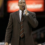 Cleveland Cavaliers coach Byron Scott calls out during the fourth quarter of the Cavaliers' NBA basketball game against the San Antonio Spurs on Wednesday, Feb. 13, 2013, in Cleveland. San A …