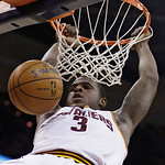 Cleveland Cavaliers' Dion Waiters dunks during the second quarter of an NBA basketball game against the San Antonio Spurs on Wednesday, Feb. 13, 2013, in Cleveland. (AP Photo/Tony Dejak)