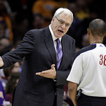 Los Angeles Lakers coach Phil Jackson lets his opinion be known to referee Michael Smith during fourth quarter action of their NBA basketball game against the Cleveland Cavaliers in Clevelan …
