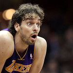 Los Angeles Lakers' Pau Gasol reacts on the court late in the fourth quarter against the Cleveland Cavaliers in an NBA basketball game in Cleveland on Wednesday, Feb. 16, 2011. The Cavaliers …