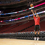 Chicago Bulls' Derrick Rose shoots before an NBA basketball game between the Bulls and the Cleveland Cavaliers, Tuesday, Feb. 26, 2013, in Chicago. Rose remains out while recovering from a k …