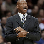 Cleveland Cavaliers coach Byron Scott makes a point during the second quarter of an NBA basketball game against the Toronto Raptors on Wednesday, Feb. 27, 2013, in Cleveland. The Cavaliers w …
