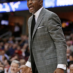 Toronto Raptor coach Dwane Casey reacts during the second quarter of an NBA basketball game against the Cleveland Cavaliers on Wednesday, Feb. 27, 2013, in Cleveland. The Cavaliers won 103-9 …