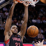 Toronto Raptors' Rudy Gay dunks against the Cleveland Cavaliers during an NBA basketball game Wednesday, Feb. 27, 2013, in Cleveland. The Cavaliers won 103-92. (AP Photo/Tony Dejak)