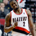 Portland Trail Blazers guard Wesley Matthews reacts after he is called for a foul during the second half of an NBA basketball game against the Cleveland Cavaliers in Portland, Ore., Wednesda …