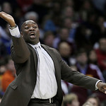 Sacramento Kings head coach Keith Smart reacts during the fourth quarter of an NBA basketball game against the Cleveland Cavaliers, Wednesday, Jan. 2, 2013, in Cleveland. The Kings won 97-94 …