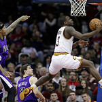 Cleveland Cavaliers' Dion Waiters (3) jumps to the basket against the Sacramento Kings during the third quarter of an NBA basketball game on Wednesday, Jan. 2, 2013, in Cleveland. The Kings  …