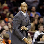 Cleveland Cavaliers head coach Byron Scott reacts during the fourth quarter of an NBA basketball game against the Boston Celtics Tuesday, Jan. 22, 2013, in Cleveland. The Cavaliers won 95-90 …