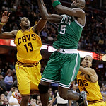 Boston Celtics' Kevin Garnett (5) grabs a rebound ahead of Cleveland Cavaliers' Tristan Thompson (13) during the fourth quarter of an NBA basketball game Tuesday, Jan. 22, 2013, in Cleveland …