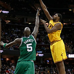 Cleveland Cavaliers' Tristan Thompson, right, shoots over Boston Celtics' Kevin Garnett (5) during the second quarter of an NBA basketball game Tuesday, Jan. 22, 2013, in Cleveland. The Cava …