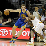 Golden State Warriors' David Lee (10) works against Cleveland Cavaliers' Tristan Thompson in an NBA basketball game Tuesday, Jan. 29, 2013, in Cleveland. (AP Photo/Mark Duncan)