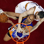 Cleveland Cavaliers' Tyler Zeller, right, Golden State Warriors' Richard Jefferson during the third quarter of an NBA basketball game Tuesday, Jan. 29, 2013, in Cleveland. The Warriors won 1 …
