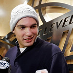 Cleveland Cavaliers' Anderson Varejao, of Brazil, talks with reporters outside the locker room before an NBA basketball game against the Atlanta Hawks, Wednesday, Jan. 9, 2013, in Cleveland. …