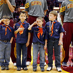 Cub Scouts from Troop 160 out of Concord, Ohio, line up in front of the Cleveland Cavaliers during the playing of the national anthem before the team faced the Atlanta Hawks in an NBA basket …