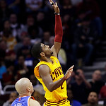 Cleveland Cavaliers' Kyrie Irving (2) shoots against New York Knicks' Jason Kidd (5) during the first quarter of an NBA basketball game, Monday, March 4, 2013, in Cleveland. (AP Photo/Tony D …