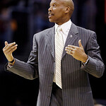 Cleveland Cavaliers head coach Byron Scott reacts in the fourth quarter of an NBA basketball game against the New York Knicks, Monday, March 4, 2013, in Cleveland. The Knicks won 102-97. (AP …
