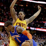 New York Knicks' Amare Stoudemire (1) drives past Cleveland Cavaliers' Alonzo Gee during the fourth quarter of an NBA basketball game, Monday, March 4, 2013, in Cleveland. Stoudemire scored …
