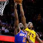 Cleveland Cavaliers' Tristan Thompson (13) blocks a shot by New York Knicks' Raymond Felton (2) during the fourth quarter of an NBA basketball game, Monday, March 4, 2013, in Cleveland. The  …