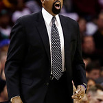 New York Knicks head coach Mike Woodson reacts during the second quarter of an NBA basketball game against the Cleveland Cavaliers, Monday, March 4, 2013, in Cleveland. The Knicks won 102-97 …
