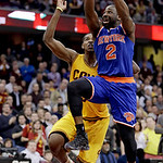 New York Knicks' Raymond Felton (2) jumps to the basket against Cleveland Cavaliers' Tristan Thompson (13) during the fourth quarter of an NBA basketball game, Monday, March 4, 2013, in Clev …