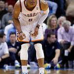 Oklahoma City Thunder guard Russell Westbrook (0) looks up at the clock during the fourth quarter of an NBA basketball game against the Cleveland Cavaliers in Oklahoma City, Sunday, Nov. 11, …