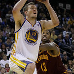 Golden State Warriors power forward David Lee (10) shoots against Cleveland Cavaliers power forward Tristan Thompson (13) during the fourth quarter of an NBA basketball game in Oakland, Cali …
