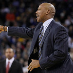 Cleveland Cavaliers head coach Byron Scott points during the second quarter of an NBA basketball game against the Golden State Warriors in Oakland, Calif., Wednesday, Nov. 7, 2012. The Warri …