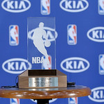Cleveland Cavaliers' Kyrie Irving's rookie of the year trophy at the NBA basketball team's headquarters in Independence, Ohio Tuesday, May 15, 2012. (AP Photo/Mark Duncan)