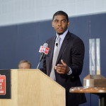 Cleveland Cavaliers' Kyrie Irving speaks after being awarded the NBA Rookie of the Year at the basketball team's headquarters in Independence, Ohio Tuesday, May 15, 2012. (AP Photo/Mark Dunc …