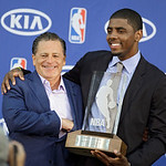 Cleveland Cavaliers' Kyrie Irving, right, poses with owner Dan Gilbert after Irving was named the NBA Rookie of the Year at the basketball team's headquarters in Independence, Ohio Tuesday,  …