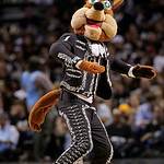 The San Antonio Spurs mascot performs during the first half at Game 5 of the NBA Finals basketball series against the Miami Heat, Sunday, June 16, 2013, in San Antonio. (AP Photo/Eric Gay)