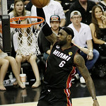 Miami Heat's LeBron James (6) dunks against the San Antonio Spurs during the first half at Game 5 of the NBA Finals basketball series, Sunday, June 16, 2013, in San Antonio. (AP Photo/David …