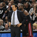 Miami Heat head coach Erik Spoelstra,left talks with guard Dwyane Wade during the fourth quarter of Game 5 in the NBA Finals between the Miami Heat against the San Antonio Spurs in San Anton …