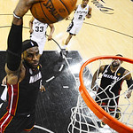 Miami Heat's LeBron James (6) dunks against the San Antonio Spurs during the first half at Game 5 of the NBA Finals basketball series, Sunday, June 16, 2013, in San Antonio. (AP Photo/John G …