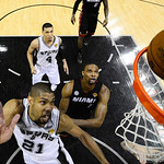 San Antonio Spurs' Tim Duncan shoots against Miami Heat during the second half at Game 5 of the NBA Finals basketball series, Sunday, June 16, 2013, in San Antonio. The Spurs won 114-104. (A …