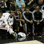 The Miami Heat bench watches action against the San Antonio Spurs during the second half at Game 5 of the NBA Finals basketball series, Sunday, June 16, 2013, in San Antonio. (AP Photo/David …
