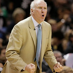 San Antonio Spurs' Gregg Popovich calls a play  against the Miami Heat during the second half at Game 5 of the NBA Finals basketball series, Sunday, June 16, 2013, in San Antonio. (AP Photo/ …