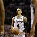 San Antonio Spurs' Danny Green (4) prepares to shoot a foul shot against the Miami Heat during the first half at Game 5 of the NBA Finals basketball series, Sunday, June 16, 2013, in San Ant …