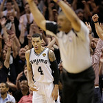 San Antonio Spurs' Danny Green (4) scores a three-point basket against the Miami Heat during the second half at Game 5 of the NBA Finals basketball series, Sunday, June 16, 2013, in San Anto …