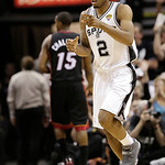 San Antonio Spurs small forward Kawhi Leonard (2) moves town court against the Miami Heat during the second half at Game 5 of the NBA Finals basketball series, Sunday, June 16, 2013, in San  …