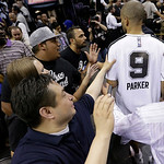 San Antonio Spurs' Tony Parker (9) leaves the floor after Game 5 of the NBA Finals basketball series against the Miami Heat, Sunday, June 16, 2013, in San Antonio. The Spurs won 114-104. (AP …