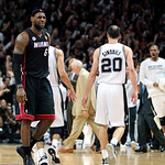 Miami Heat forward LeBron James (6) reacts after San Antonio guard Danny Green hits a 3-pointer during the fourth quarter of Game 5 in the NBA Finals in San Antonio on Sunday, June 16, 2013. …