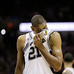 San Antonio Spurs power forward Tim Duncan (21) walks on the court during the first half at Game 5 of the NBA Finals basketball series against the Miami Heat, Sunday, June 16, 2013, in San A …