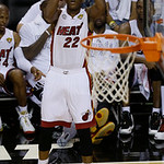 Miami Heat small forward James Jones (22) aims at the basket during the first half of Game 6 of the NBA Finals basketball game against against the San Antonio Spurs, Tuesday, June 18, 2013 i …