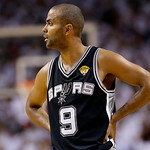 San Antonio Spurs point guard Tony Parker (9) during the first half of Game 6 of the NBA Finals basketball game against the San Antonio Spurs, Tuesday, June 18, 2013 in Miami. (AP Photo/Lynn …