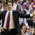 Miami Heat head coach Erik Spoelstra speaks to players against the San Antonio Spurs during the second half of Game 6 of the NBA Finals basketball game, Tuesday, June 18, 2013 in Miami. (AP  …