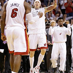 The Miami Heat react after overtime of Game 6 of the NBA Finals basketball game against the San Antonio Spurs, Wednesday, June 19, 2013 in Miami. The Heat defeated the Spurs 103-100. (AP Pho …