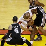 Miami Heat forward LeBron James (6) drives to the basket as San Antonio Spurs guard Danny Green (4) and San Antonio Spurs forward Kawhi Leonard (2) defend during the first half of Game 6 of  …