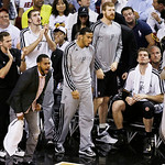 The San Antonio Spurs bench react to a Tim Duncan dunk against the Miami Heat during the first half of Game 6 of the NBA Finals basketball game, Tuesday, June 18, 2013 in Miami. (AP Photo/Wi …