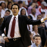Miami Heat head coach Erik Spoelstra during the second half of Game 6 of the NBA Finals basketball game against the San Antonio Spurs, Tuesday, June 18, 2013 in Miami. (AP Photo/Lynne Sladky …